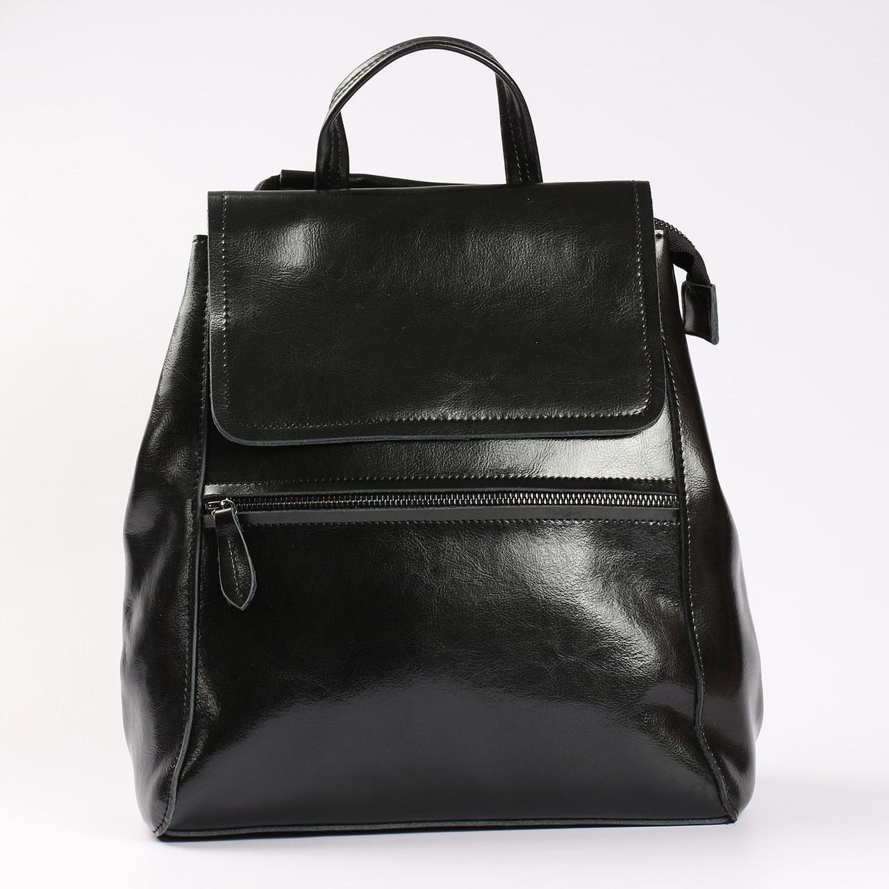 """Женский кожаный рюкзак-сумка(трансформер) черного цвета """"Жозефина Black"""""""