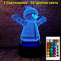 Светильник детский настольный, Снеговик, новогодний подарок для детей, Новогодние детские подарки