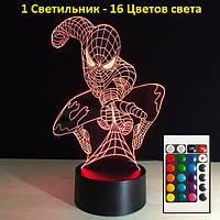 Светильник 3D человек Паук, Дизайнерские 3D светильники, Подарок мальчику, Подарок для детей мальчиков