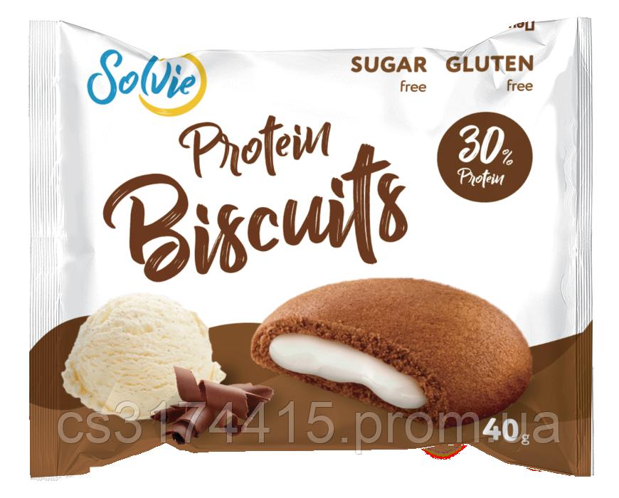 Протеїновий бісквіт Solvie Чорна Шоколад-Пломбір (40 грам)