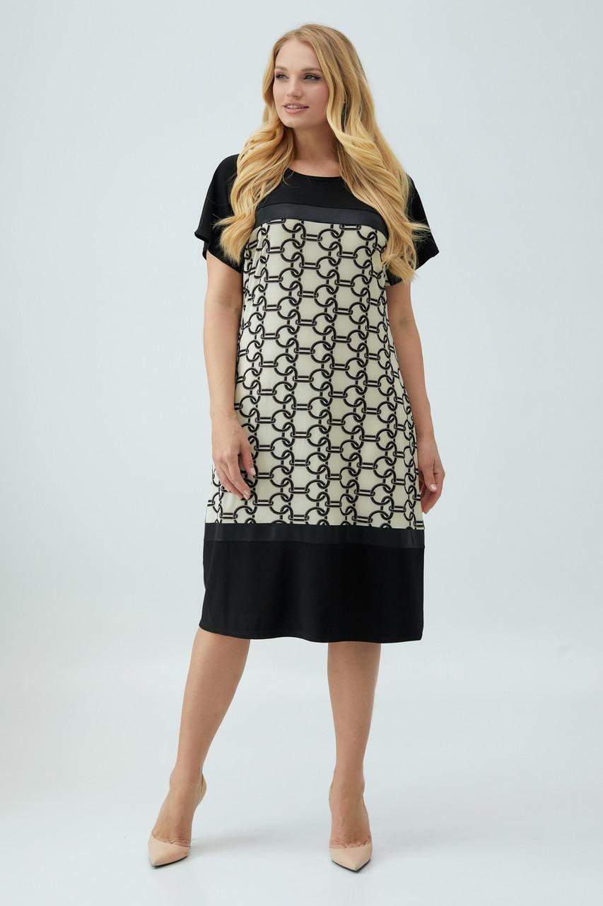 Платье Эльза бежево-черное 50