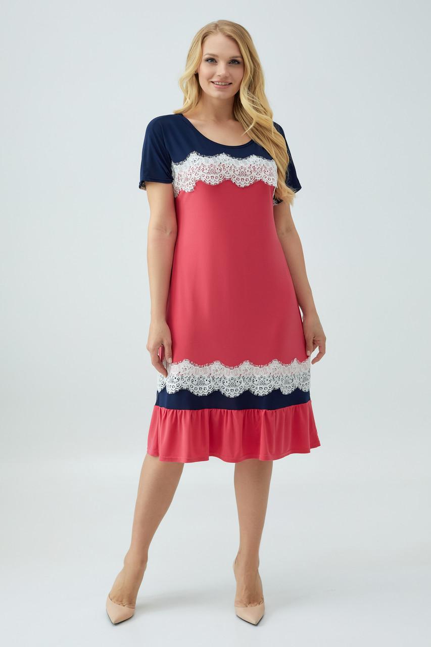 Платье Аида коралловое с синим 52 58