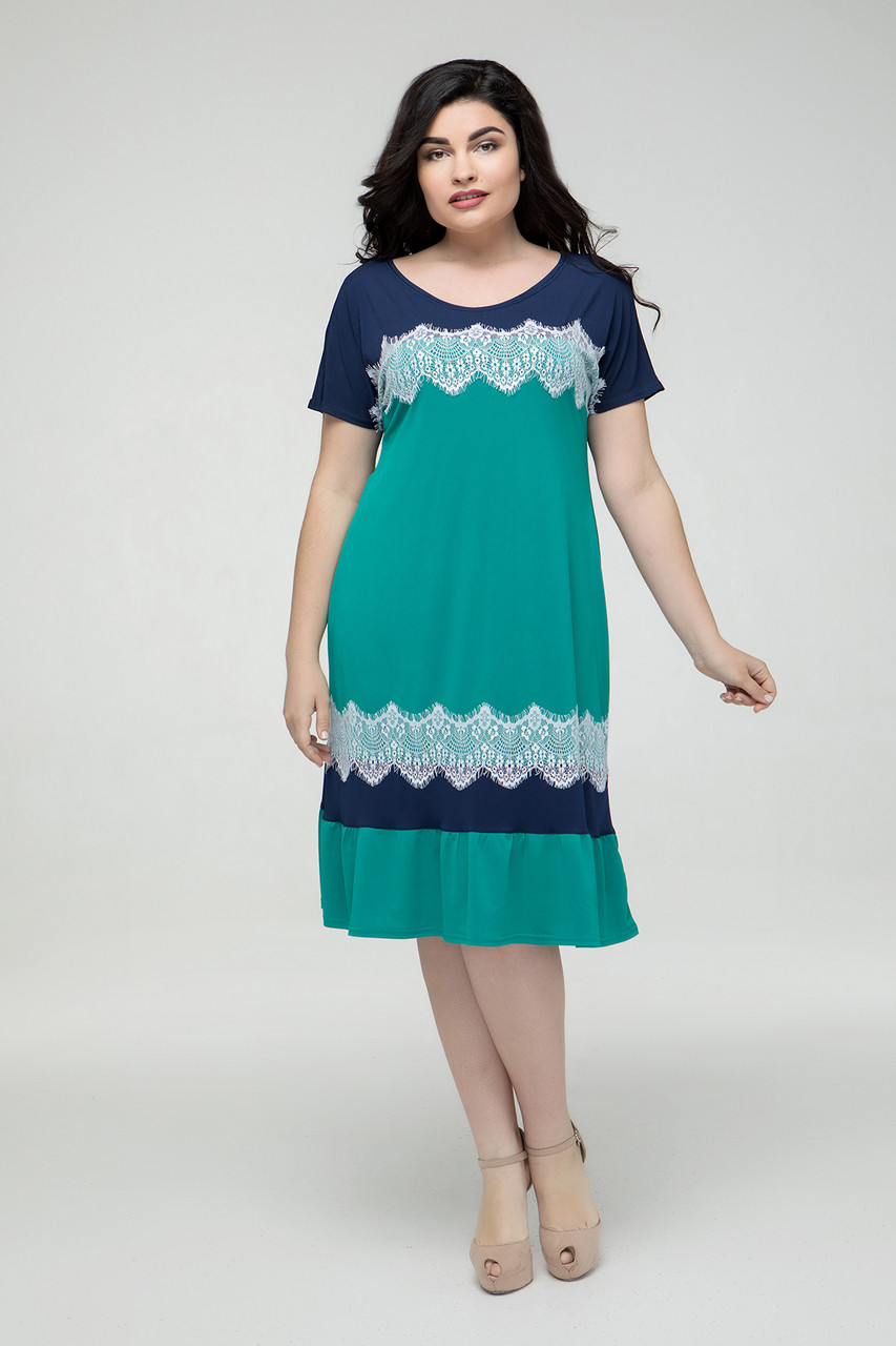 Платье сине-бирюзовое Аида 48