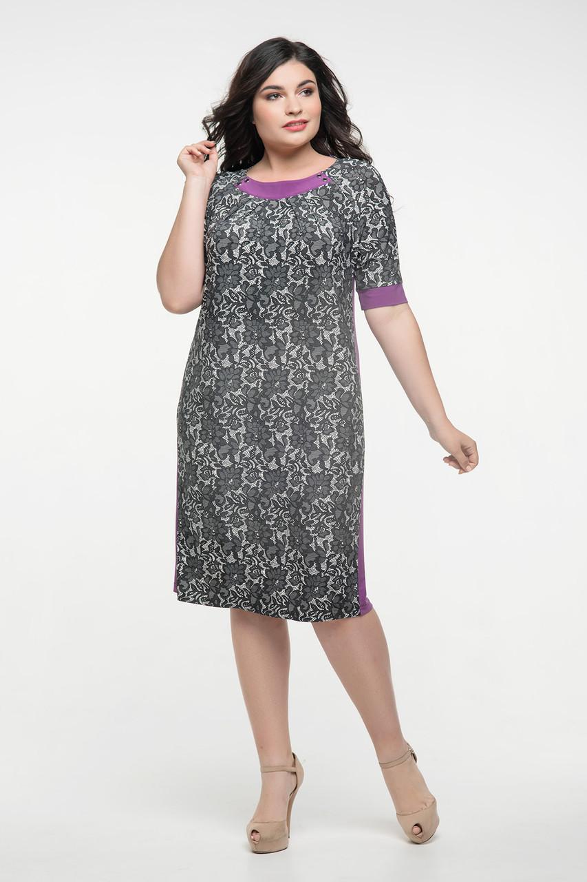 Платье серый принт сиреневый Иванна 50