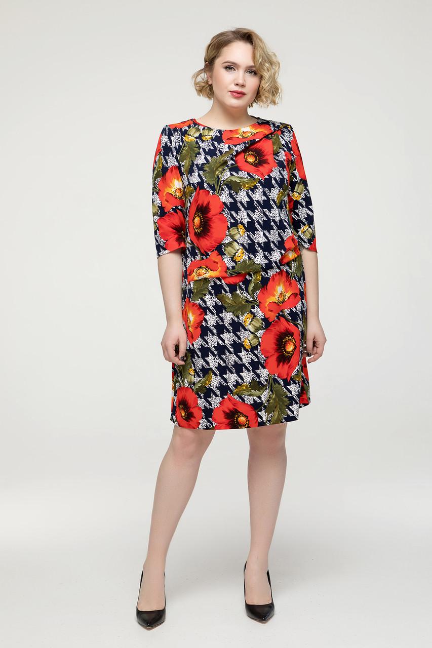 Платье красное цветы Бриллиант 56