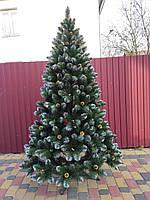 Новогодняя искусственная елка Кармен с золотыми шишками и жемчугом высотой 2.20 м, фото 1