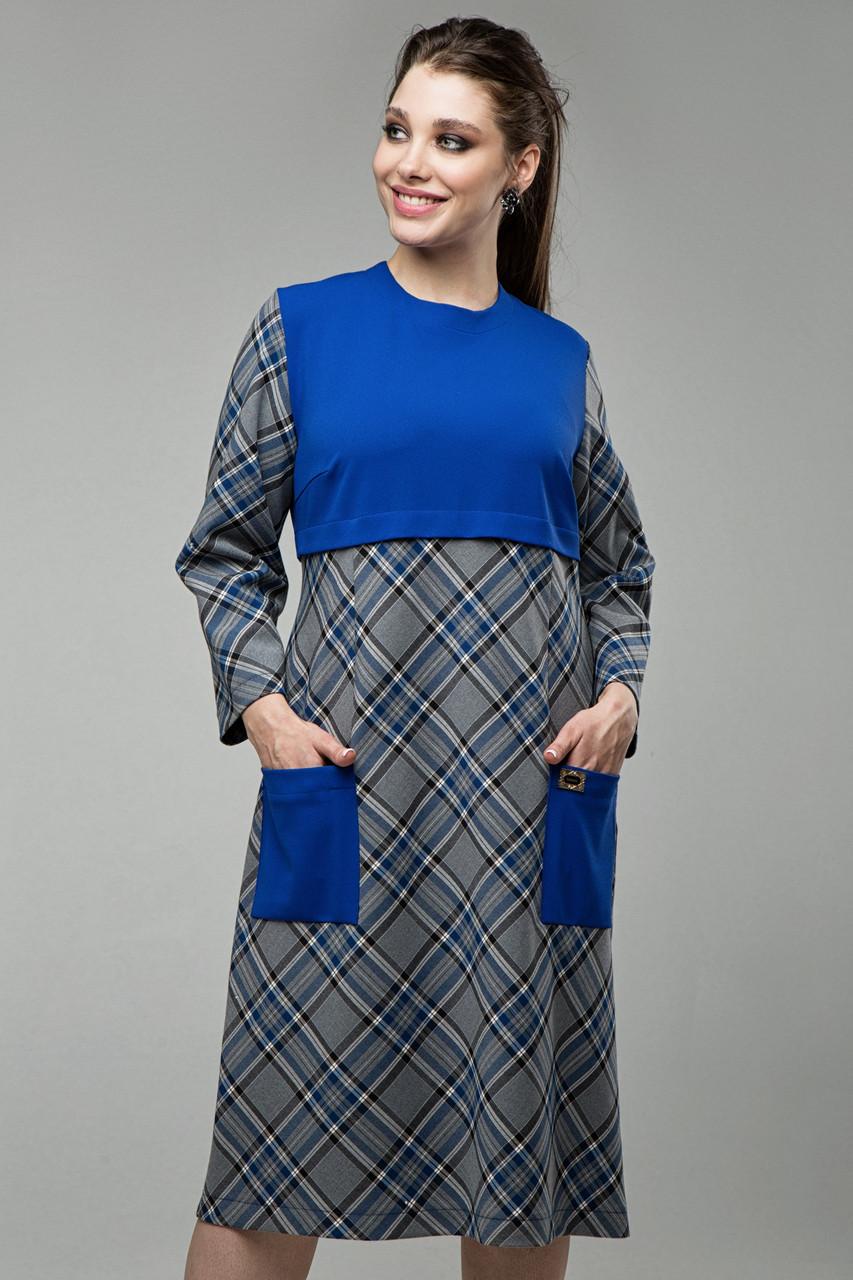 Платье синее Ягодка 50