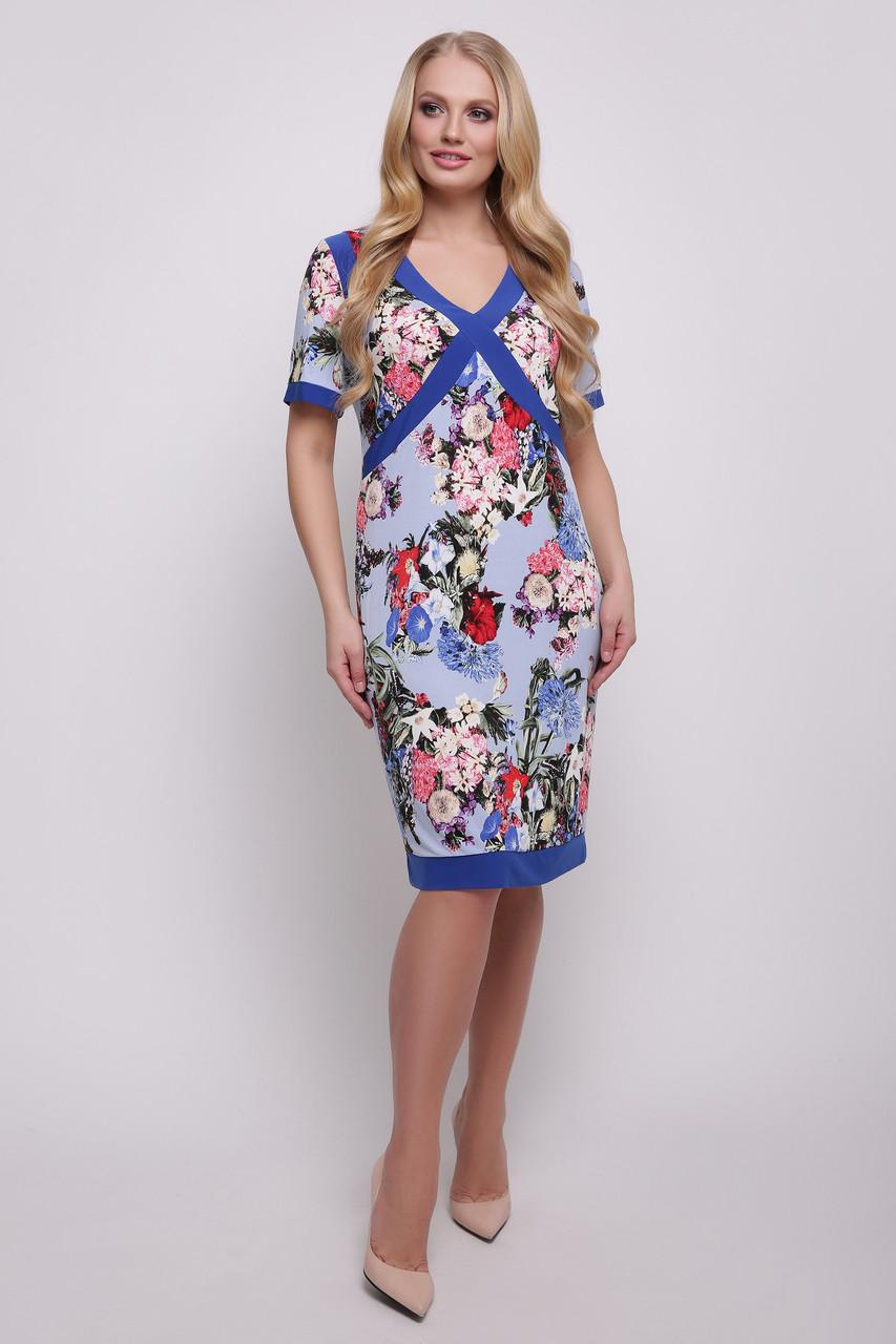 Платье синее Есения 56