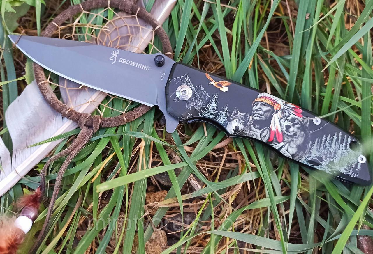 """Нож полуавтомат Browning """"Индеец и Амарок"""" DA80 +паракорд"""