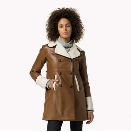 Кожаное пальто женскаое TOMMY HILFIGER цвет коричнево-белый размер S арт E987662768-545