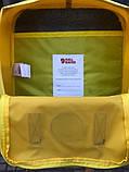 Молодежный женский рюкзак сумка Fjallraven Kanken classic №2 канкен желтый с коричневыми вставками 16 л., фото 6