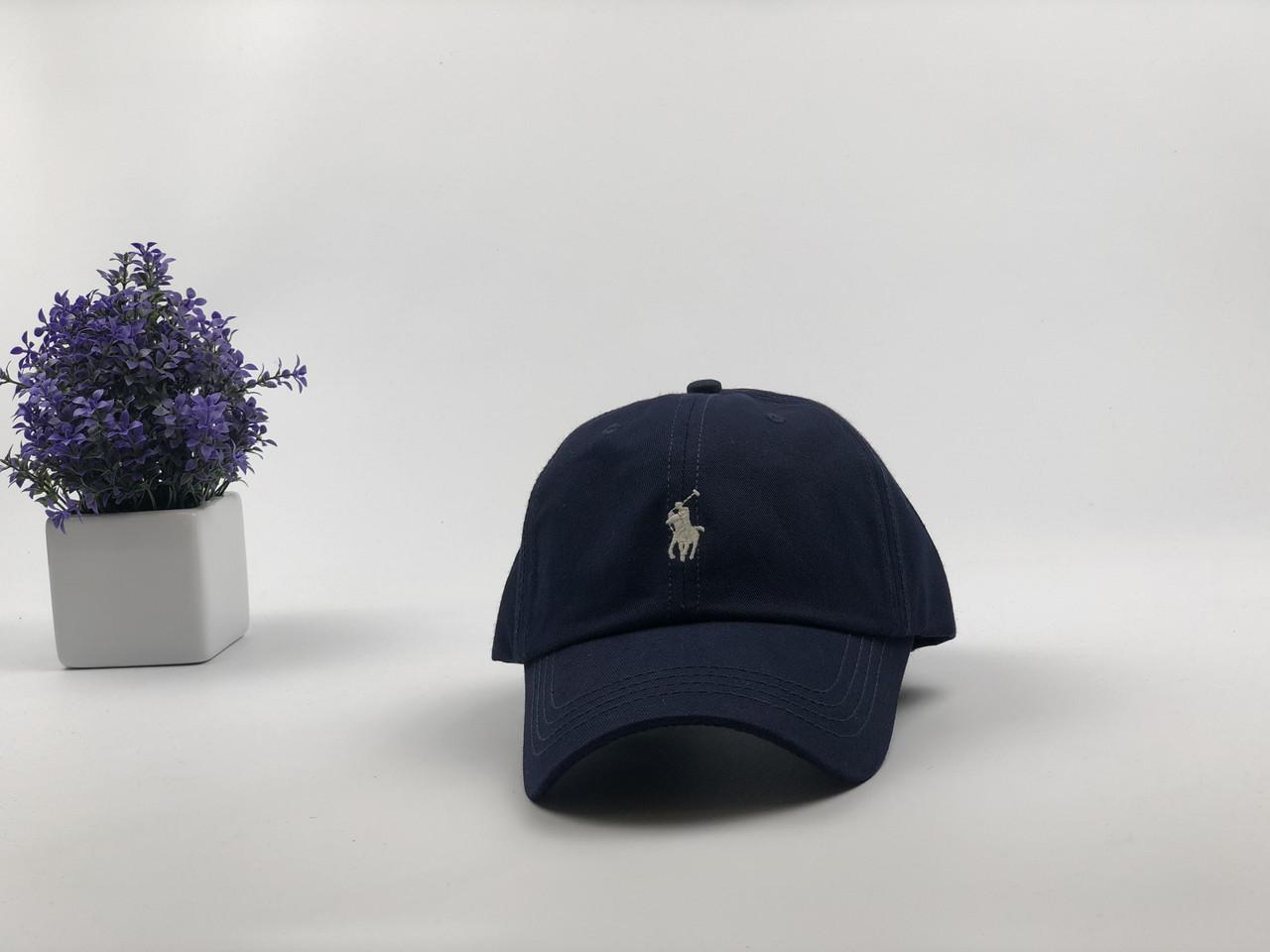Кепка Бейсболка Мужская Женская Polo Ralph Lauren с тканевым ремешком Темно-Синяя с Белым лого