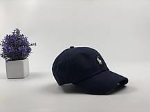 Кепка Бейсболка Мужская Женская Polo Ralph Lauren с тканевым ремешком Темно-Синяя с Белым лого, фото 2