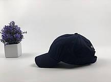 Кепка Бейсболка Мужская Женская Polo Ralph Lauren с тканевым ремешком Темно-Синяя с Белым лого, фото 3