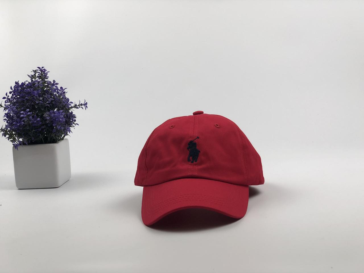 Кепка Бейсболка Мужская Женская Polo Ralph Lauren с кожаным ремешком Красная с Черным лого