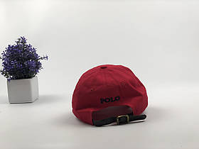 Кепка Бейсболка Мужская Женская Polo Ralph Lauren с кожаным ремешком Красная с Черным лого, фото 2