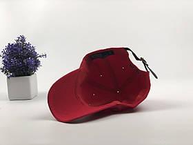 Кепка Бейсболка Мужская Женская Polo Ralph Lauren с кожаным ремешком Красная с Черным лого, фото 3
