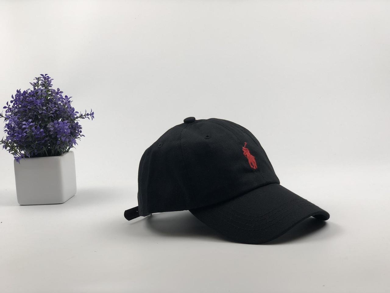 Кепка Бейсболка Мужская Женская Polo Ralph Lauren с кожаным ремешком Черная с Красным лого