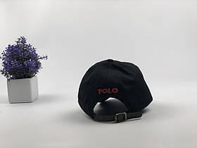Кепка Бейсболка Мужская Женская Polo Ralph Lauren с кожаным ремешком Черная с Красным лого, фото 2