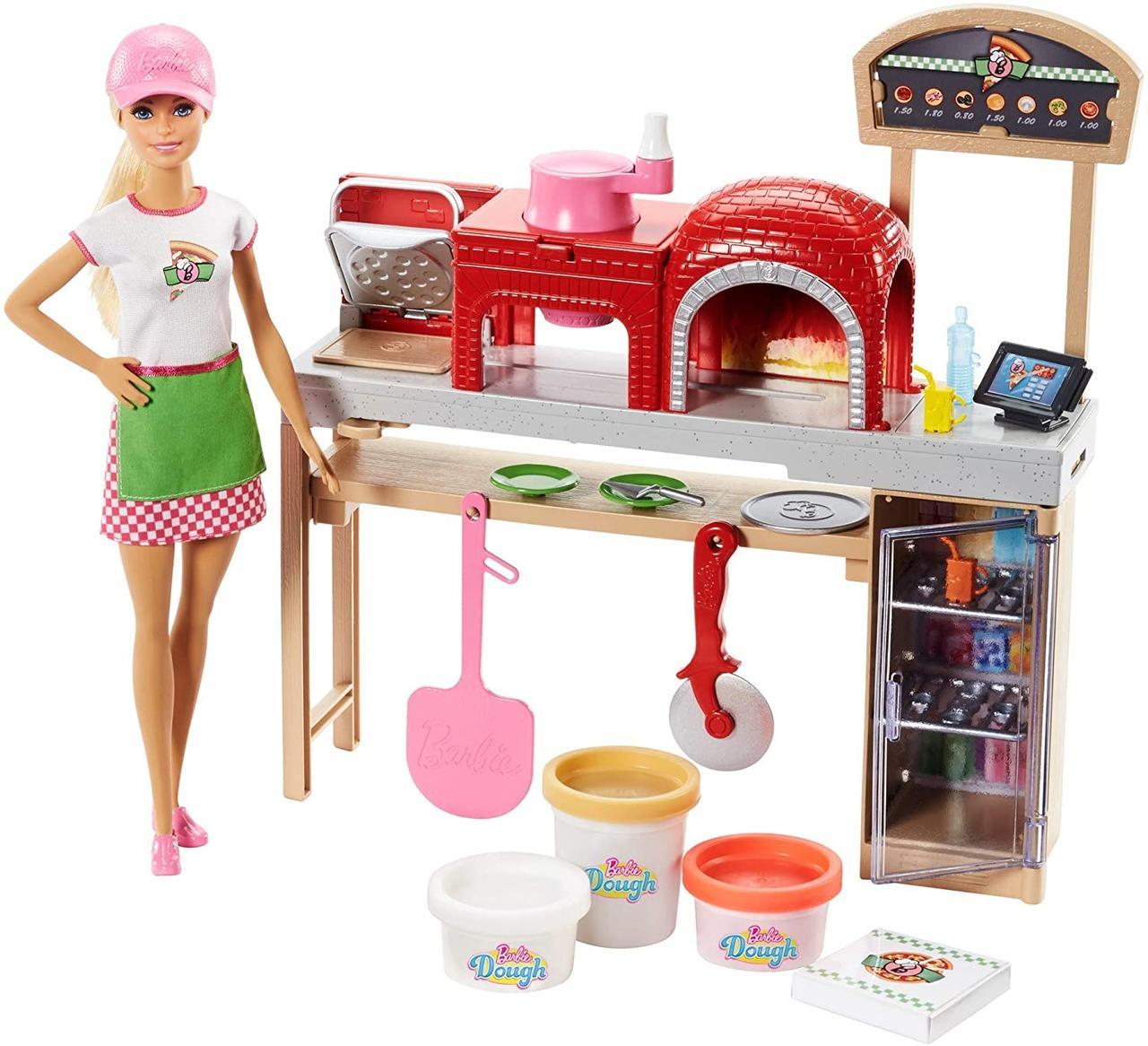 Кукла Барби с кухней и тестом Play Dough Готовим пиццу.