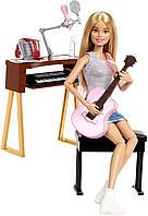 Игровой набор Барби шарнирная музыкант с гитарой и пианино, Barbie Girls Music Blonde Activity, Mattel