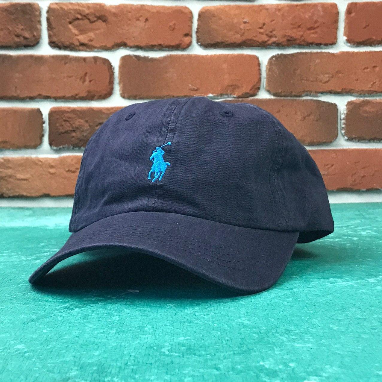 Кепка Бейсболка Мужская Женская Polo Ralph Lauren с тканевым ремешком Темно-Синяя с Синим лого