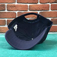Кепка Бейсболка Мужская Женская Polo Ralph Lauren с тканевым ремешком Темно-Синяя с Синим лого, фото 2