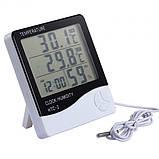 Термометр-гигрометр HTC-2 с часами и выносным датчиком температуры, фото 3