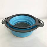 Дуршлаг складной COLLAPSIBLE FILTER BASKETS (силиконовый). Цвет: голубой, фото 6