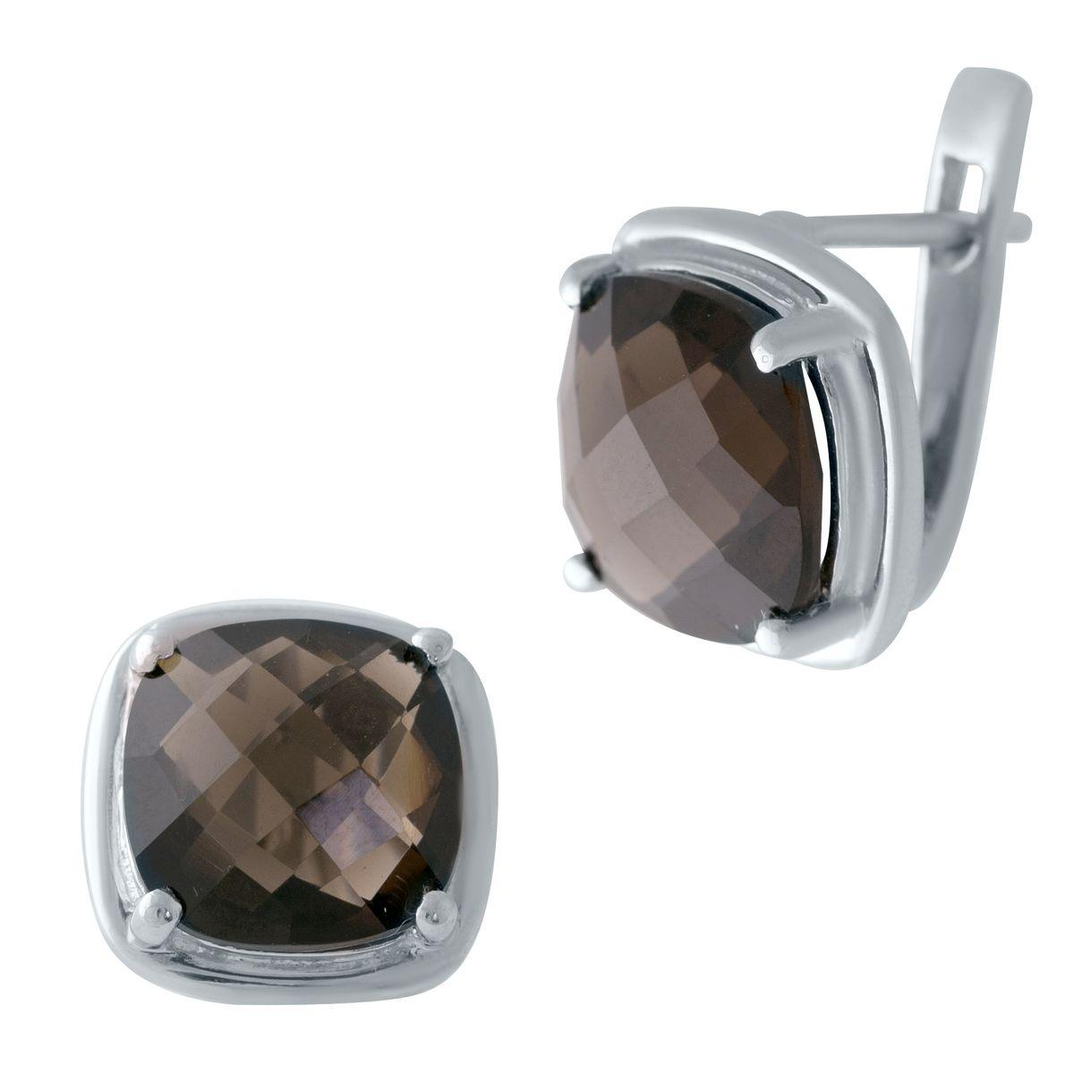 Серебряные серьги DreamJewelry с натуральным раухтопазом (димчатим кварцем) (2025382)
