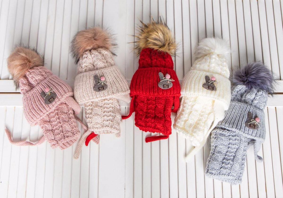 Вязаний комплект (шапка на завязках і хомут) для маленької дівчинки оптом - Артикул 2724