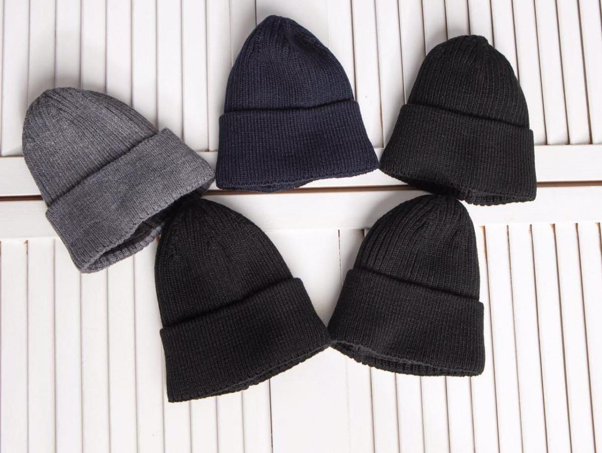 Стильна зимова шапка з відворотом для хлопчика - Артикул 2763