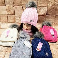 Комплект зимний для девочки шапка и баф , разные цвета Флис