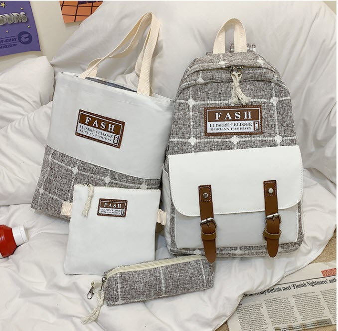 Модный большой тканевый набор 4в1в клетку Рюкзак, сумка, косметичка, пенал