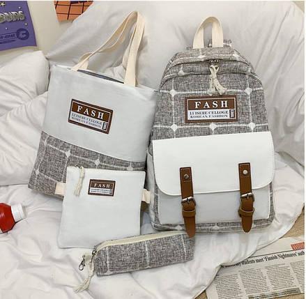 Модний великий тканинний набір 4в1в клітку Рюкзак, сумка, косметичка, пенал, фото 2
