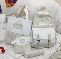 Модный большой тканевый набор 4в1в клетку Рюкзак, сумка, косметичка, пенал, фото 3