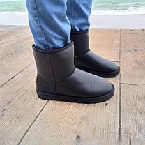Кожаные угги UGG мужские черные высокие эко кожа зимние ботинки валенки теплые, фото 3