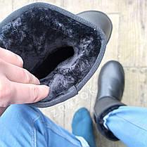 Шкіряні уггі UGG чоловічі чорні зі змійкою високі еко шкіра зимові черевики валянки теплі, фото 2
