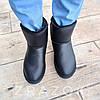 Шкіряні уггі UGG чоловічі чорні зі змійкою високі еко шкіра зимові черевики валянки теплі, фото 4