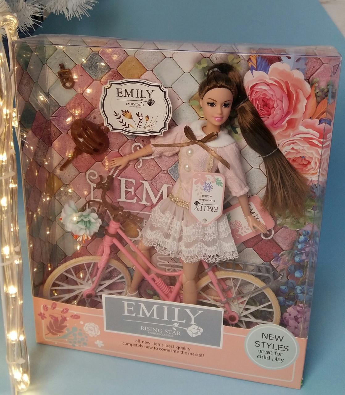 Кукла Emily с велосипедом, шарнирная, 29 см, шлем, букет QJ077