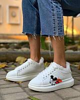 Кроссовки Зимние Женские в стиле Adidas (Микки) Мех, White
