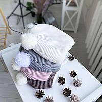 Зимняяшапочка для новорожденных«Мишутка» серая, розовая, коричневая, молочная