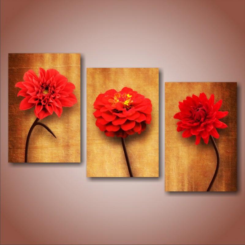 """Модульна картина квіти """"Red flower"""""""