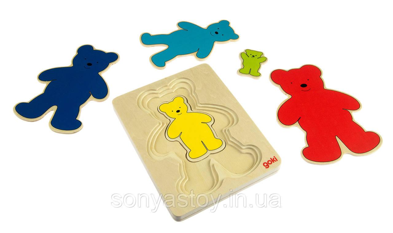 Пазл-вкладыш Разноцветные мишки на изучение цветов и размеров, Goki, 2+