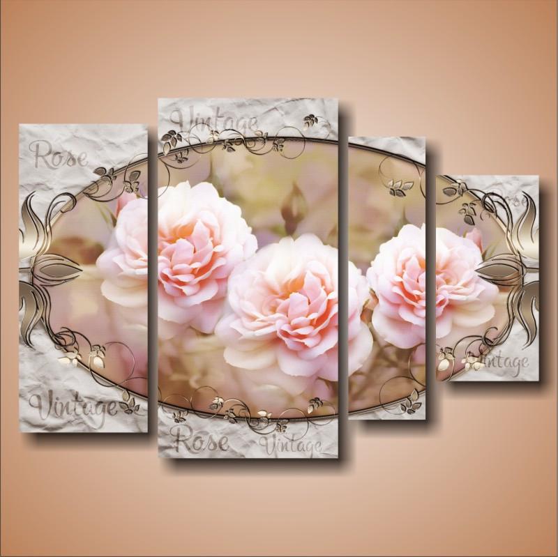 """Модульная картина с цветами """"Нежные розы. Полиптих"""""""