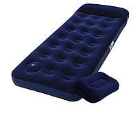Матрас двуспальный надувной одноместный велюровый Bestway 99*188*22 с ножным насосом и подушкой