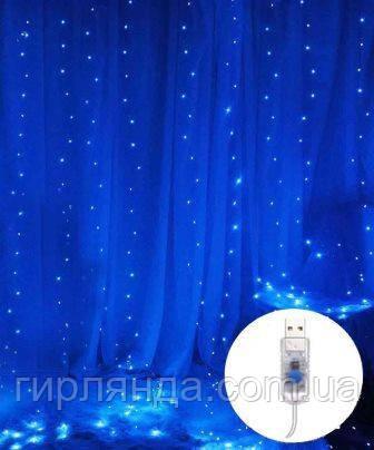 ШТОРА-РОСА 200л 2м*2м статична/ USB, синій