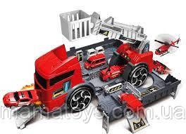 Іграшка Трейлер P904-A Гараж контейнер з машинками 2 в 1 Пожежна машина