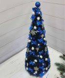 Ялинка  каркасна 75см з гірляндою роса на батарейках, синя