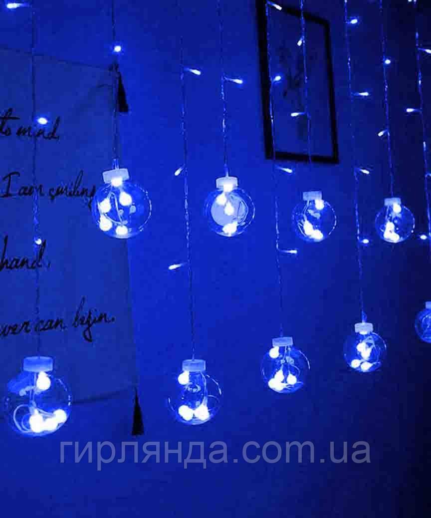 Штора-кульки  РОСА 10шт,  3м*0,8м+ з'єднювач, синій